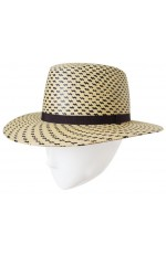 Two-coloured panama hat with flat head