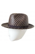 TWO-COLOURED PANAMA TURNED BRIM HAT